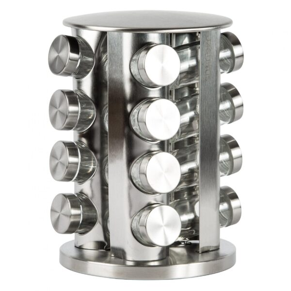 This Stainless Steel Revolving Spice Rack Organizer includes 1 round spice tower with 16 empty glass spice jars. Great for saving kitchen space and...