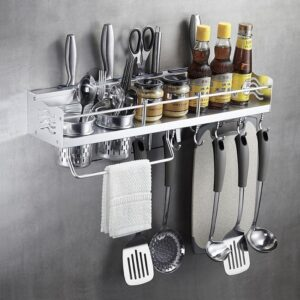 This Multifunctional Wall Hanging Aluminium Kitchen Rack / Wall Mounted Kitchen Rack to store pots and utensils for easy access and save space...