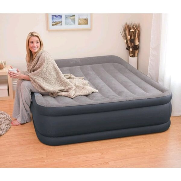 Intex Deluxe Pillow Rest Raised Airbed with Built-in Pump, Double Size Air Bed Price in BD, Intex High Rise Inflatable Air Bed in Bangladesh, Intex 60x80x16.5 inch Airbed in Online