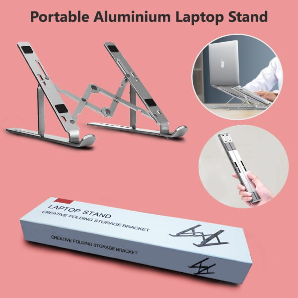 Collapsible Laptop Stand in BD, Portable Aluminium Laptop Stand in Dhaka, FoldingLaptop Stand for Desk, Foldable Notebook Stand Price in BD, Collapsible & Portable Aluminium Laptop Stand in Bangladesh