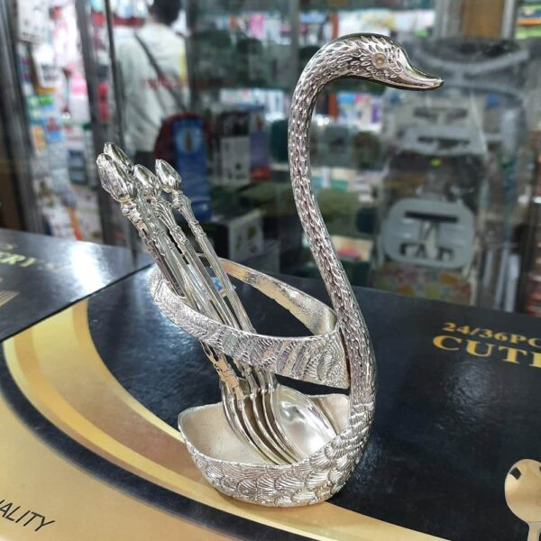 Showpiece Spoon Set with Swan Stand in BD, Silver Spoon Set Price in Bangladesh, Golden Spoon Set Price in DB, Swan Spoon Stand Price in BD, Swan Spoon Set with Stand in Bangladesh