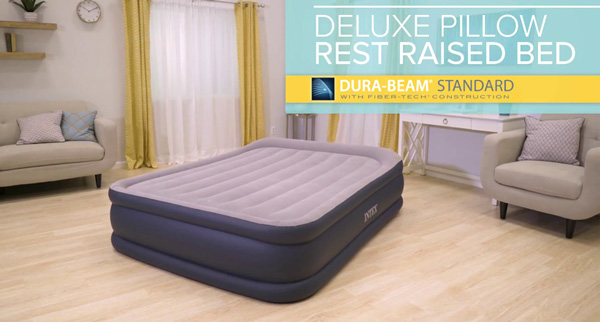 Intex Deluxe Pillow Rest Raised Airbed with Built-in Pump, Double Size Air Bed Price in BD, Intex Queen Inflatable Airbed, Air Mattress in BD, INTEX Deluxe Double Size Air Bed in Bangladesh