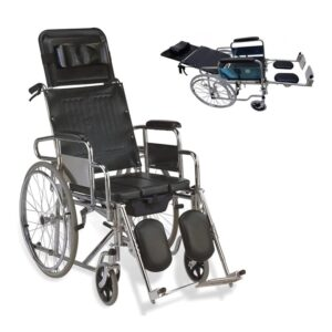 Sleeping Position Wheelchair with Commode in Bangladesh, Reclining Commode Wheel Chair in BD, Sleeping System Commode Wheelchair in Dhaka